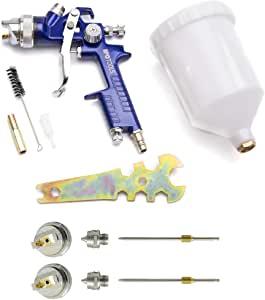 Pistola Pintura HVLP H-827P - sistema profesional de pintura con vaso de plástico de 600 ml y boquilla de acero inoxidable 1,4mm + 2x juego de boquillas de 1,7mm y 2,0mm