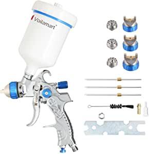 Pistola Violamarte de aire para alimentación por gravedad HVLP, herramienta pulverizadora para retocar pintura, juego con botella 600CC con boquillas de 1,4mm, 1,7mm, 2 mm