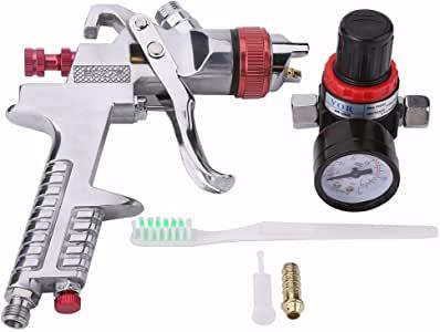 Qiilu 1,4 mm Boquilla 1000CC Pistola de Pintura de Aire de Gravedad HVLP con regulador de Coche