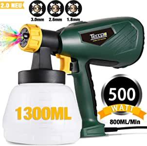 TECCPO 500W HVLP - Pistola de pulverización eléctrica (800 ml/min, 1300 ml, 3 modos de funcionamiento y 3 boquillas de cobre, adecuado para decoración y desinfectante en spray - TAPS02P)