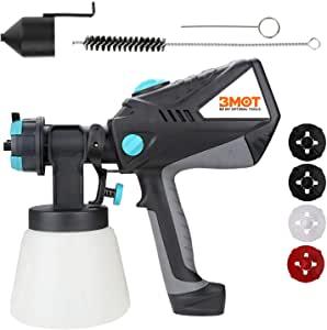 BMOT - Pistola de pintura (600 W, 3 patrones de inyección y 4 tamaños de boquilla, recipiente de 1000 ml, pistola de pintura extraíble, 1000 ml/min)