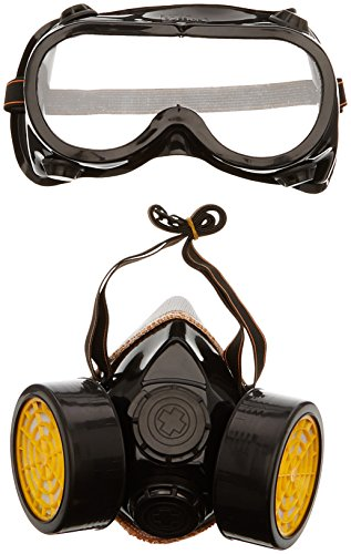 TRIXES Máscara/gafas con 2 piezas de respirador de doble cartucho para protección contra polvo y pintura